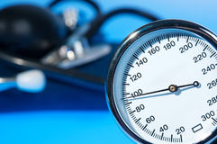Sphygmomanometer and stethoscope Stock Images