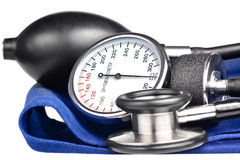 Sphygmomanometer and stethoscope kit Royalty Free Stock Photos