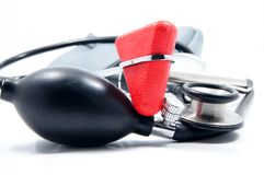 Sphygmomanometer, stethoscope and reflex hammer Stock Photos