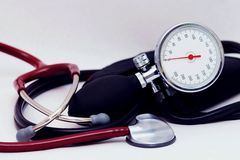 Sphygmomanometer and stethoscope Royalty Free Stock Images