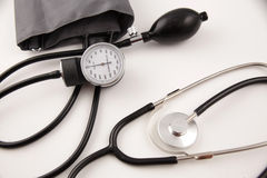 Sphygmomanometer with Stethoscope Stock Images