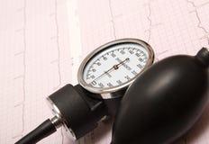 Sphygmomanometer sur le diagramme d'ECG Images stock