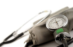 Sphygmometer. Manual blood pressure monitor medical tool isolated Stock Photography