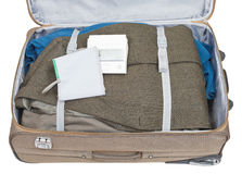 Sphygmometer and jacket packed in suitcase Stock Photos