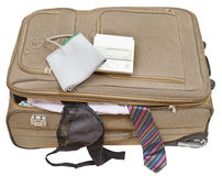 Sphygmometer on suitcase with tie and bra Stock Photography
