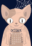 Sphynx cat with tattoos. Oktober calendar Royalty Free Stock Photos