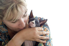 Sphynx Cat and woman Stock Photography