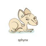 Sphynx Katttecken på vit Arkivfoton