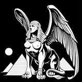 Sphynx nära pyramiderna med vingvektorillustrationen stock illustrationer