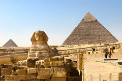 Sphynx and pyramids Stock Photo
