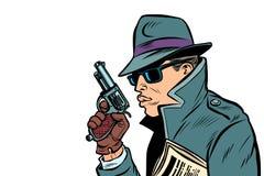 Spia della pistola, agente segreto illustrazione di stock