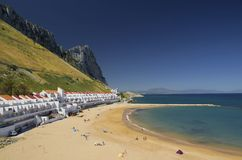 Spiagge della baia sabbiosa di Gibilterra Immagini Stock Libere da Diritti