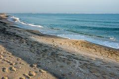 Spiaggia abbandonata inverno in Pomorie, Bulgaria Fotografie Stock