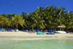 Spiaggia ad ovest della baia nell'Honduras Immagini Stock Libere da Diritti