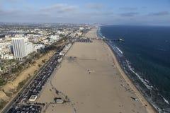 Spiaggia Aeriao Santa Monica California Immagini Stock Libere da Diritti