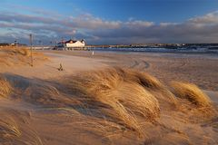 Spiaggia in Ahlbeck, isola di Usedom, Germania fotografie stock