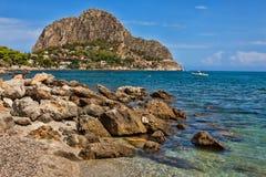Spiaggia al capo Zafferana Fotografie Stock Libere da Diritti