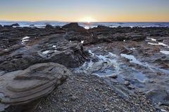 Spiaggia al crepuscolo Fotografia Stock