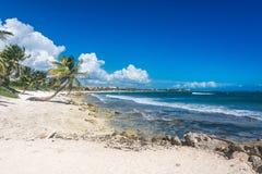Spiaggia al mar dei Caraibi, costa tropicale di Akumal vicino a Cancun Snork Immagine Stock Libera da Diritti