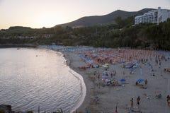 Spiaggia al tramonto Immagini Stock Libere da Diritti