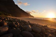 Spiaggia al tramonto, Kauai di Kalalau Fotografia Stock