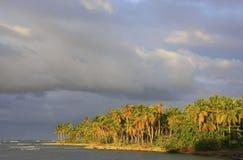 Spiaggia al tramonto, penisola di Las Galeras di Samana Immagini Stock
