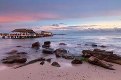 Spiaggia al tramonto, Sihanoukville, Cambogia di scoperta Immagini Stock
