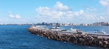 Spiaggia in Alessandria d'Egitto Fotografia Stock Libera da Diritti