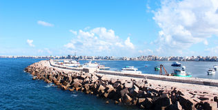 Spiaggia in Alessandria d'Egitto Fotografie Stock