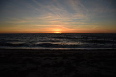 Spiaggia alla sera Immagini Stock Libere da Diritti