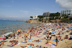 Spiaggia ammucchiata Fotografie Stock