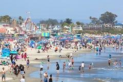Spiaggia ammucchiata di California Fotografie Stock