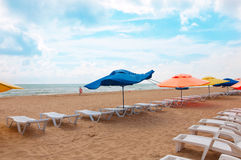 Spiaggia in Anapa sul Mar Nero, Russia Fotografia Stock Libera da Diritti