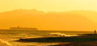 Spiaggia arancione panoramica Fotografia Stock Libera da Diritti