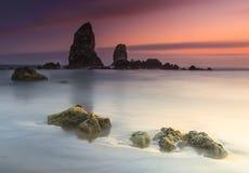 Spiaggia astratta e tramonto Fotografia Stock Libera da Diritti