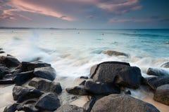 Spiaggia australiana al tramonto Immagini Stock Libere da Diritti