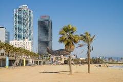 Spiaggia a Barcellona Fotografia Stock
