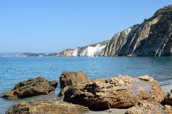 Spiaggia bianca delle rocce Fotografia Stock Libera da Diritti