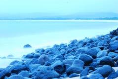 Spiaggia blu di umore Fotografia Stock