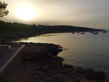Spiaggia blu Majorque di Ibiza Fotografia Stock