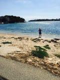 Spiaggia blu Majorque di Ibiza Fotografie Stock Libere da Diritti
