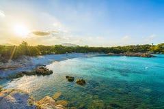 Spiaggia Capriccioli, beach of Emerald coast, east Sardinia island, Italy. Spiaggia Capriccioli, beach of Emerald coast at sunset, east Sardinia island, Italy stock photos