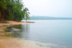 Spiaggia caraibica Cist Rica Puerto Viejo Jungle Rain Forest Turquoise Water Blue Water di paradiso Immagine Stock Libera da Diritti