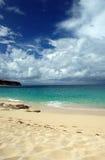 Spiaggia caraibica con la tempesta d'avvicinamento Fotografie Stock