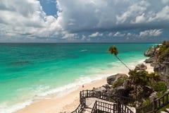 Spiaggia caraibica di Tulum Fotografie Stock Libere da Diritti