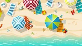 Spiaggia con gli ombrelli, vista superiore illustrazione vettoriale