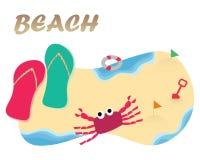 Spiaggia con il sandalo colourful Fotografie Stock Libere da Diritti