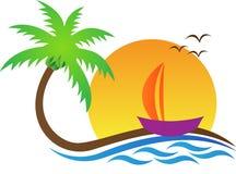 Spiaggia con l'albero illustrazione vettoriale
