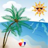 Spiaggia con la palma Immagine Stock Libera da Diritti