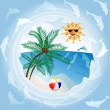 Spiaggia con la palma Fotografia Stock Libera da Diritti